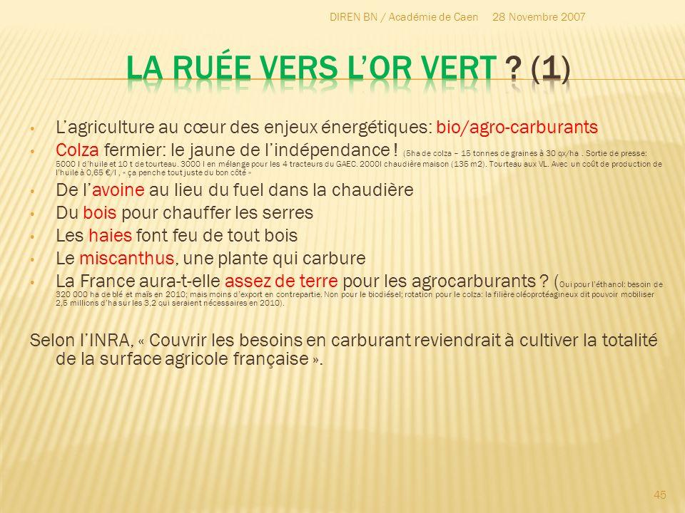 Lagriculture au cœur des enjeux énergétiques: bio/agro-carburants Colza fermier: le jaune de lindépendance ! (5ha de colza – 15 tonnes de graines à 30