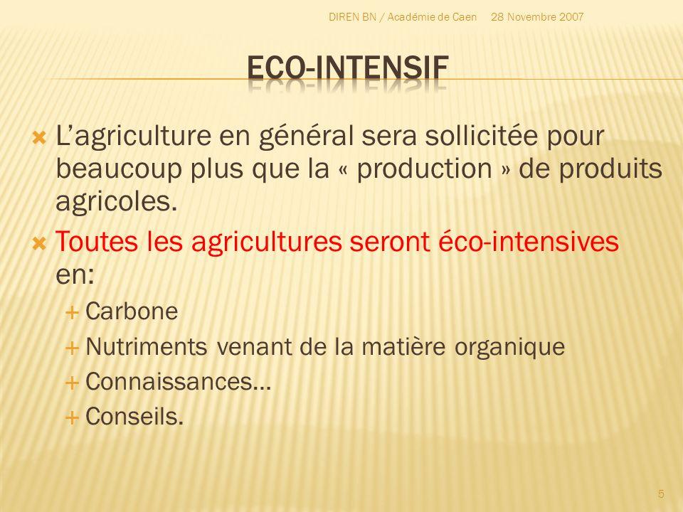Lagriculture en général sera sollicitée pour beaucoup plus que la « production » de produits agricoles. Toutes les agricultures seront éco-intensives