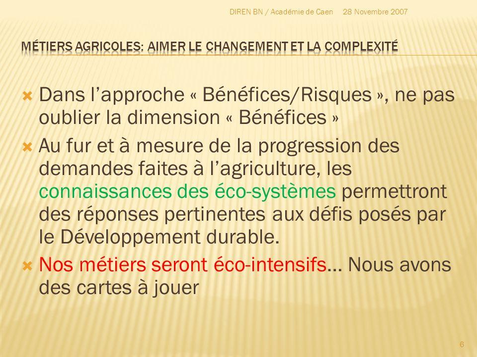 Dans lapproche « Bénéfices/Risques », ne pas oublier la dimension « Bénéfices » Au fur et à mesure de la progression des demandes faites à lagricultur
