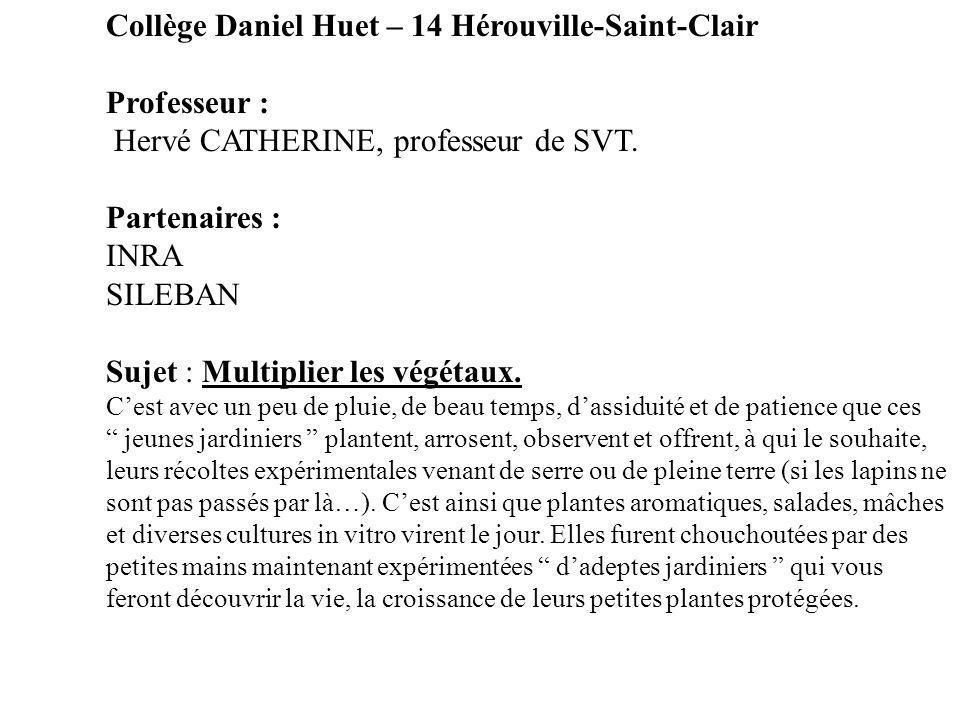 Collège Daniel Huet – 14 Hérouville-Saint-Clair Professeur : Hervé CATHERINE, professeur de SVT. Partenaires : INRA SILEBAN Sujet : Multiplier les vég