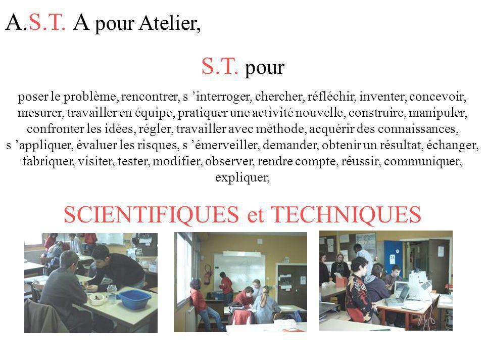 A.S.T. A pour Atelier, S.T. pour poser le problème, rencontrer, s interroger, chercher, réfléchir, inventer, concevoir, mesurer, travailler en équipe,