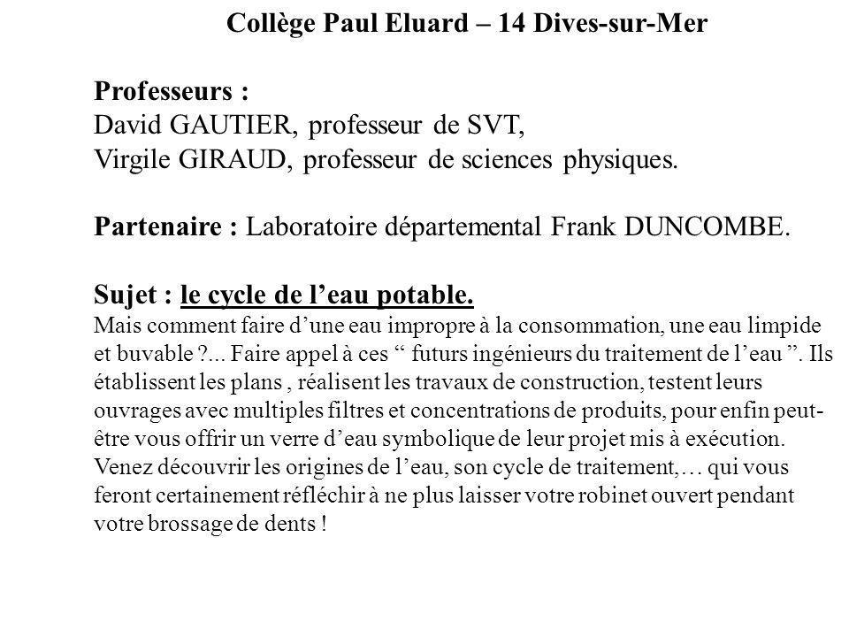 Collège Paul Eluard – 14 Dives-sur-Mer Professeurs : David GAUTIER, professeur de SVT, Virgile GIRAUD, professeur de sciences physiques. Partenaire :