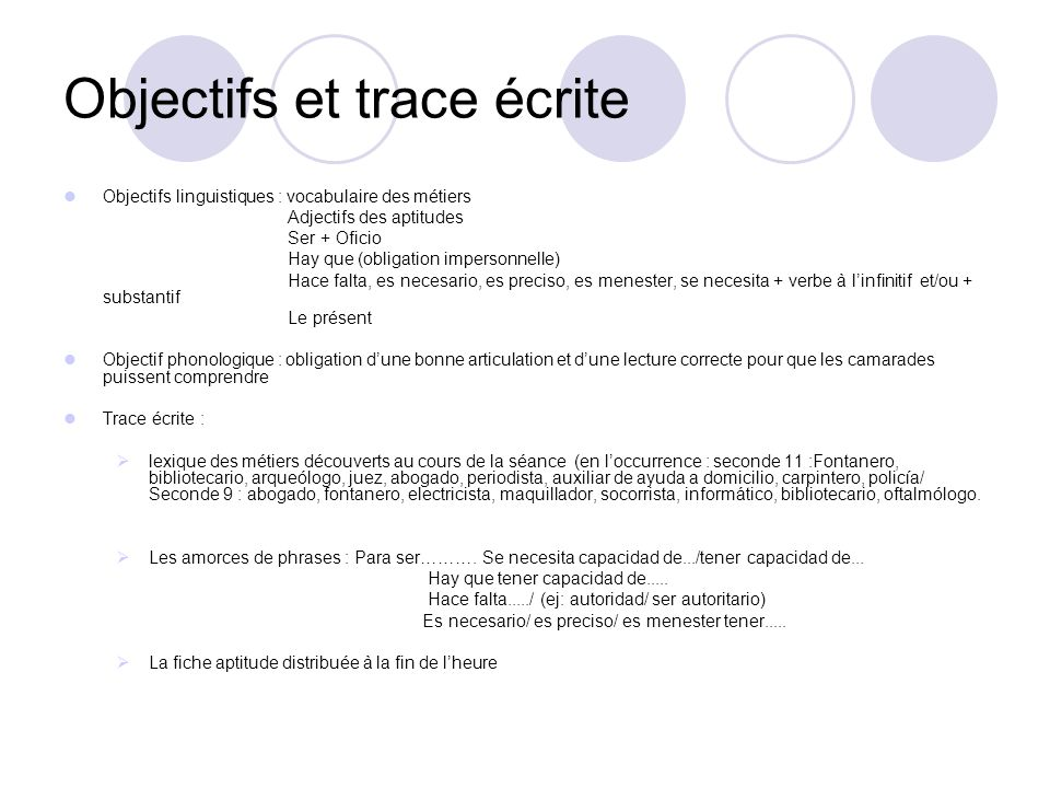 Objectifs et trace écrite Objectifs linguistiques : vocabulaire des métiers Adjectifs des aptitudes Ser + Oficio Hay que (obligation impersonnelle) Ha