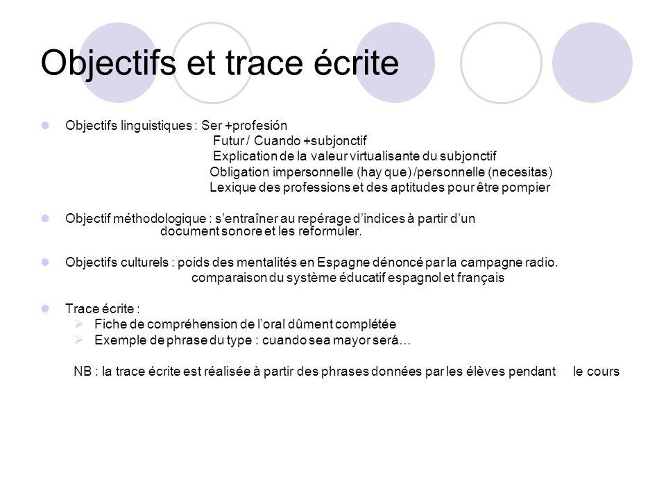Objectifs et trace écrite Objectifs linguistiques : Ser +profesión Futur / Cuando +subjonctif Explication de la valeur virtualisante du subjonctif Obl