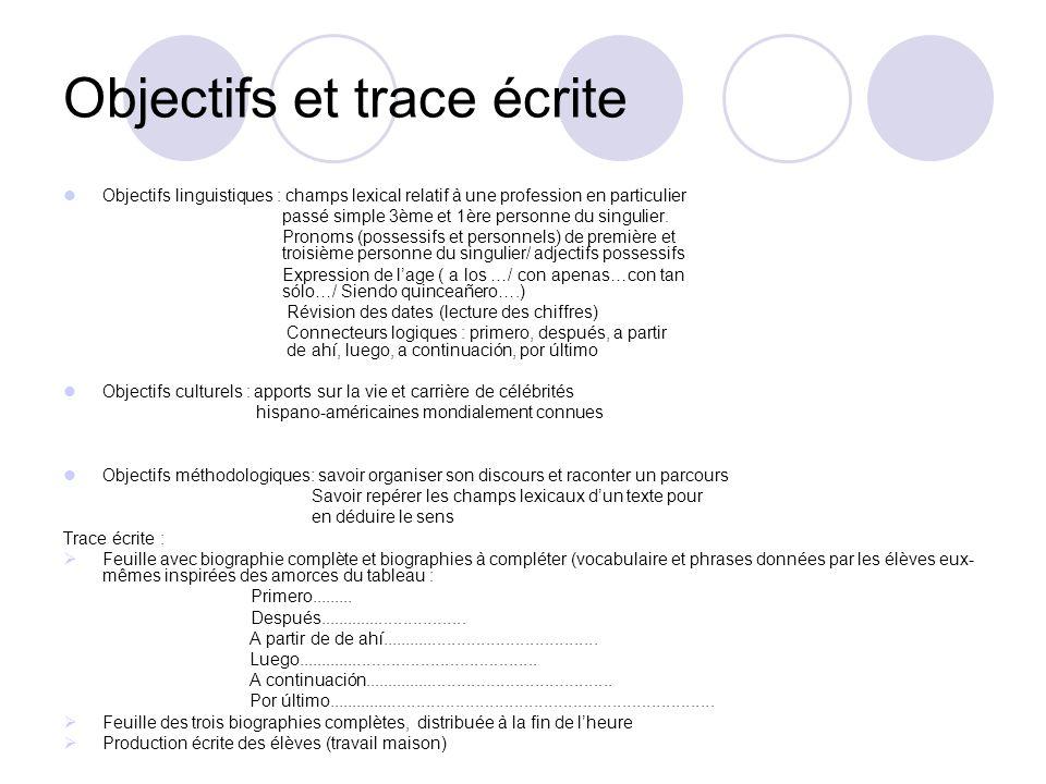 Objectifs et trace écrite Objectifs linguistiques : champs lexical relatif à une profession en particulier passé simple 3ème et 1ère personne du singu