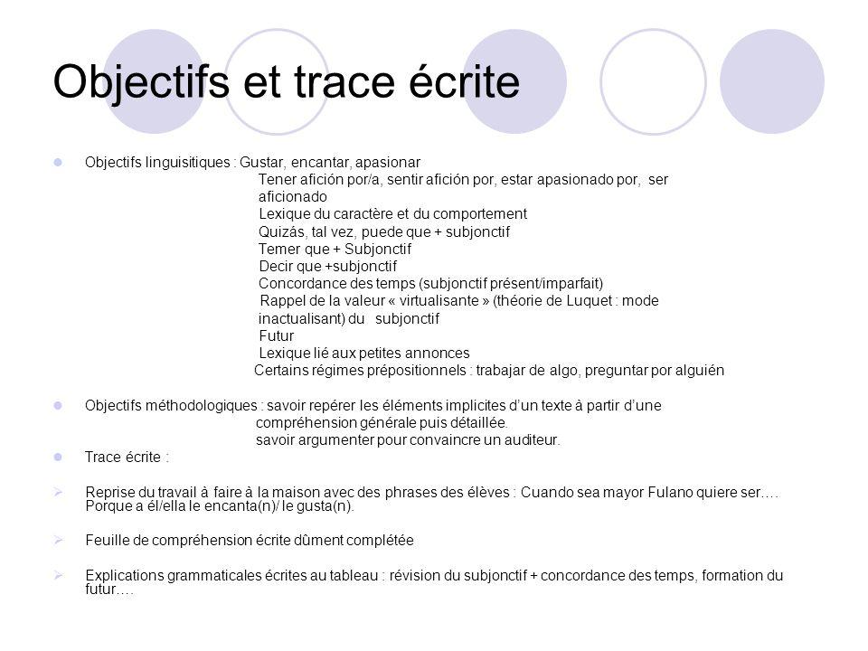 Objectifs et trace écrite Objectifs linguisitiques : Gustar, encantar, apasionar Tener afición por/a, sentir afición por, estar apasionado por, ser af