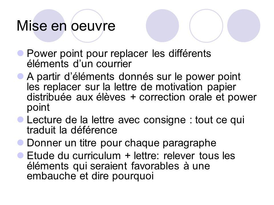 Mise en oeuvre Power point pour replacer les différents éléments dun courrier A partir déléments donnés sur le power point les replacer sur la lettre