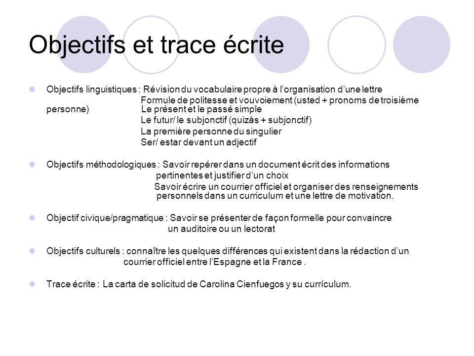 Objectifs et trace écrite Objectifs linguistiques : Révision du vocabulaire propre à lorganisation dune lettre Formule de politesse et vouvoiement (us