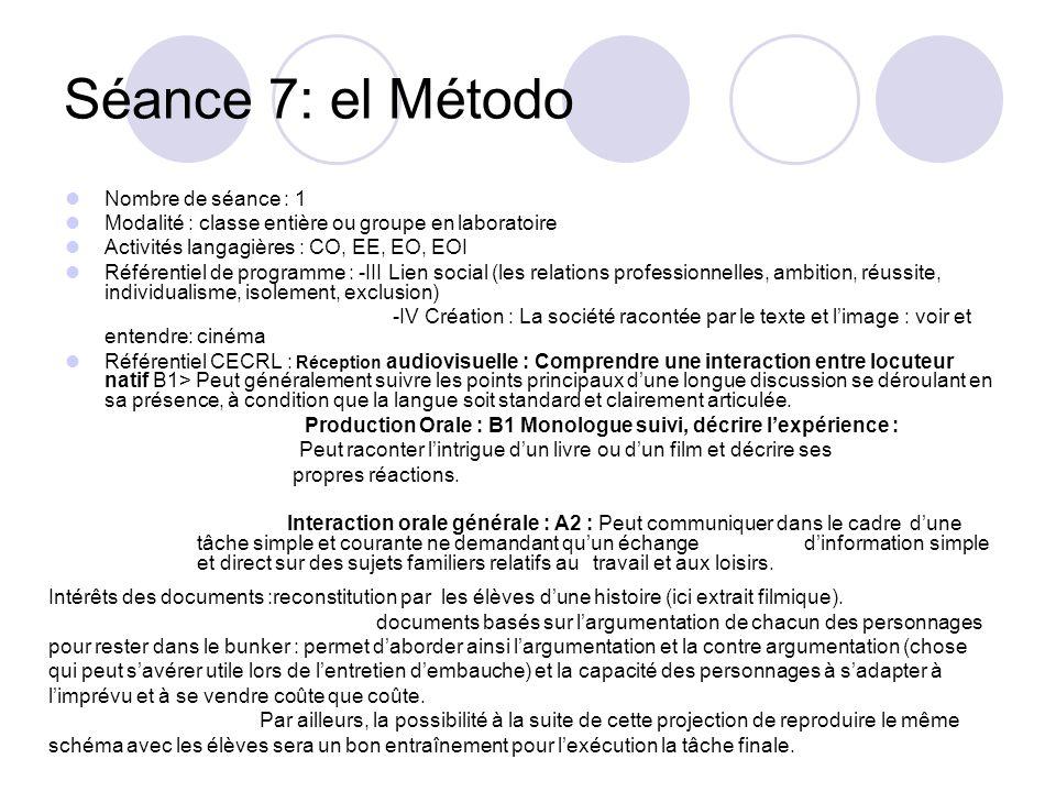 Séance 7: el Método Nombre de séance : 1 Modalité : classe entière ou groupe en laboratoire Activités langagières : CO, EE, EO, EOI Référentiel de pro