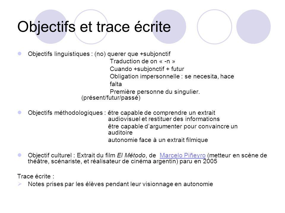 Objectifs et trace écrite Objectifs linguistiques : (no) querer que +subjonctif Traduction de on « -n » Cuando +subjonctif + futur Obligation imperson
