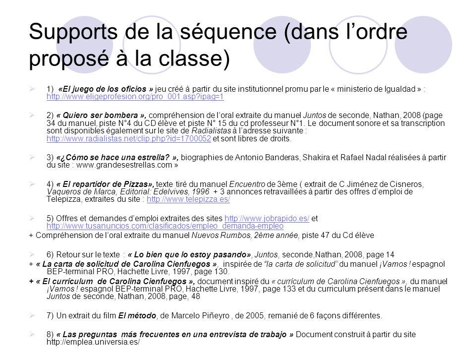 Supports de la séquence (dans lordre proposé à la classe) 1) «El juego de los oficios » jeu créé à partir du site institutionnel promu par le « minist