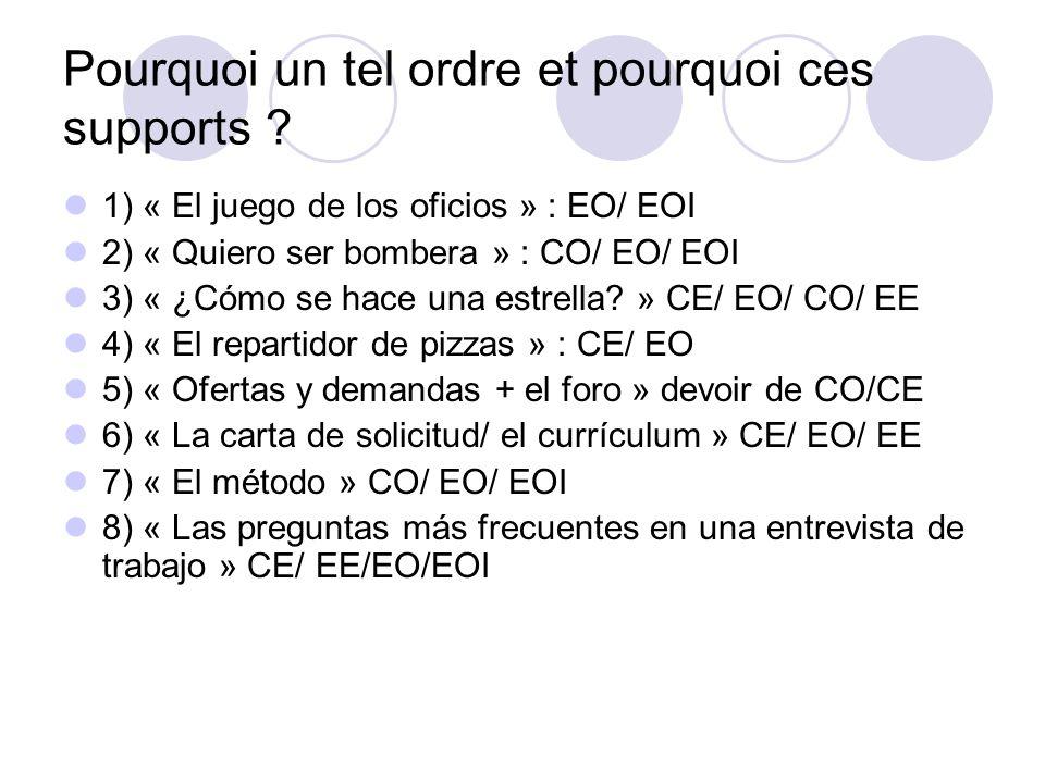 Pourquoi un tel ordre et pourquoi ces supports ? 1) « El juego de los oficios » : EO/ EOI 2) « Quiero ser bombera » : CO/ EO/ EOI 3) « ¿Cómo se hace u