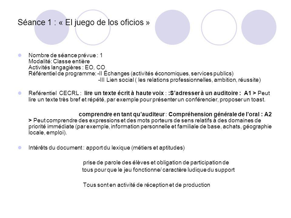 Séance 1 : « El juego de los oficios » Nombre de séance prévue : 1 Modalité: Classe entière Activités langagières : EO, CO Référentiel de programme: -