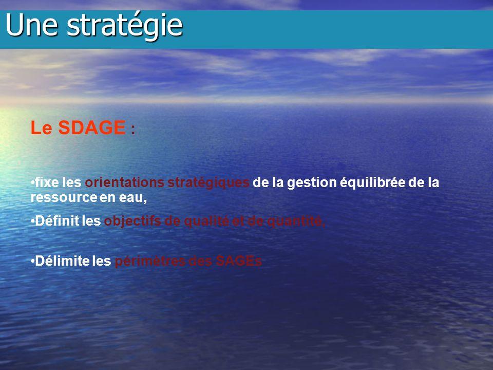 Le SDAGE : fixe les orientations stratégiques de la gestion équilibrée de la ressource en eau, Définit les objectifs de qualité et de quantité, Délimite les périmètres des SAGEs Une stratégie