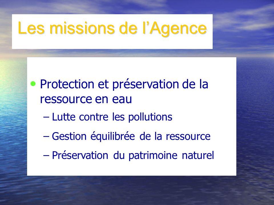 Les missions de lAgence Protection et préservation de la ressource en eau –Lutte contre les pollutions –Gestion équilibrée de la ressource –Préservati