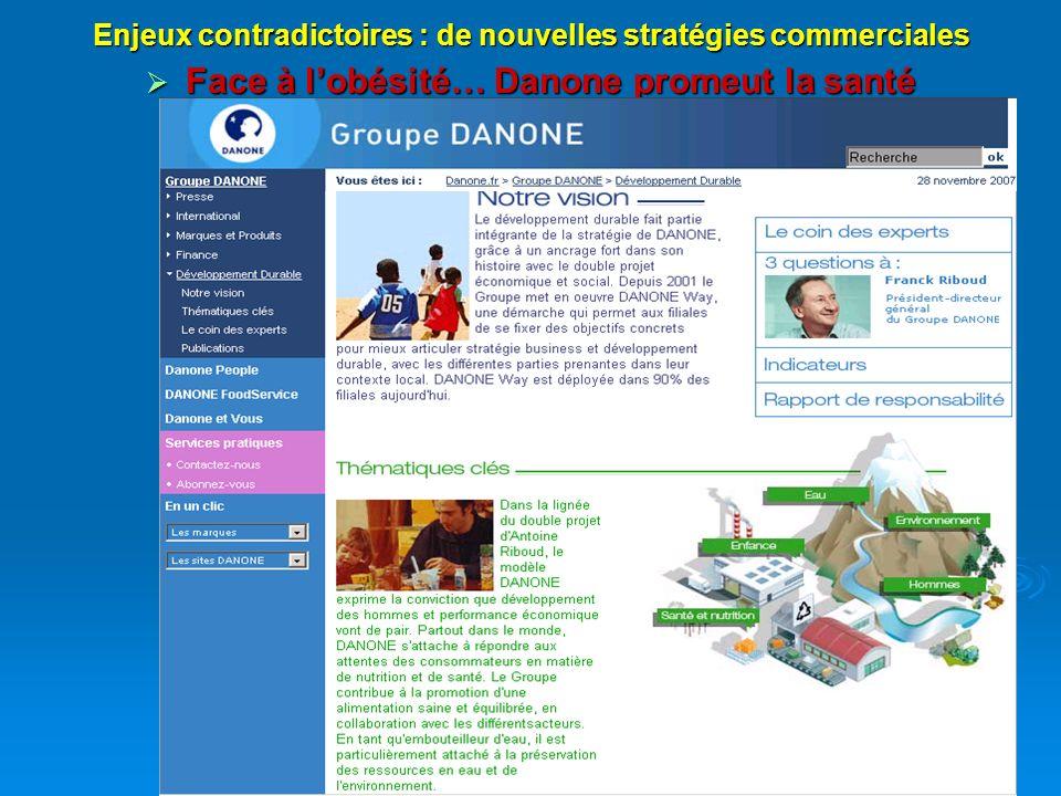 14 Enjeux contradictoires : de nouvelles stratégies commerciales Face à lobésité… Danone promeut la santé Face à lobésité… Danone promeut la santé