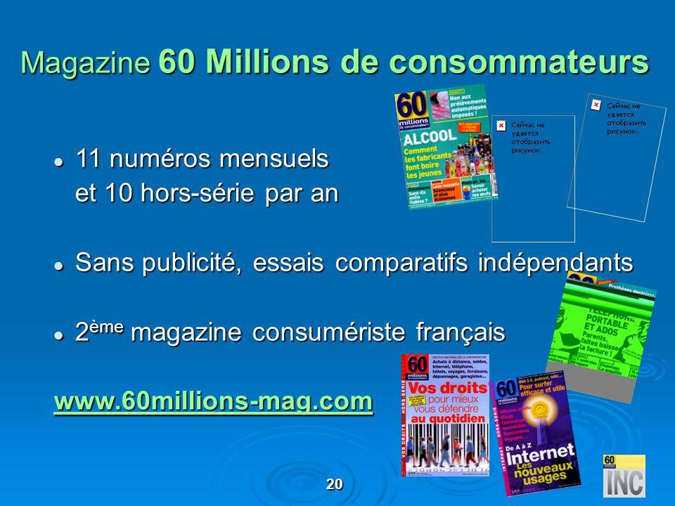 20 Magazine 60 Millions de consommateurs 11 numéros mensuels 11 numéros mensuels et 10 hors-série par an Sans publicité, essais comparatifs indépendan