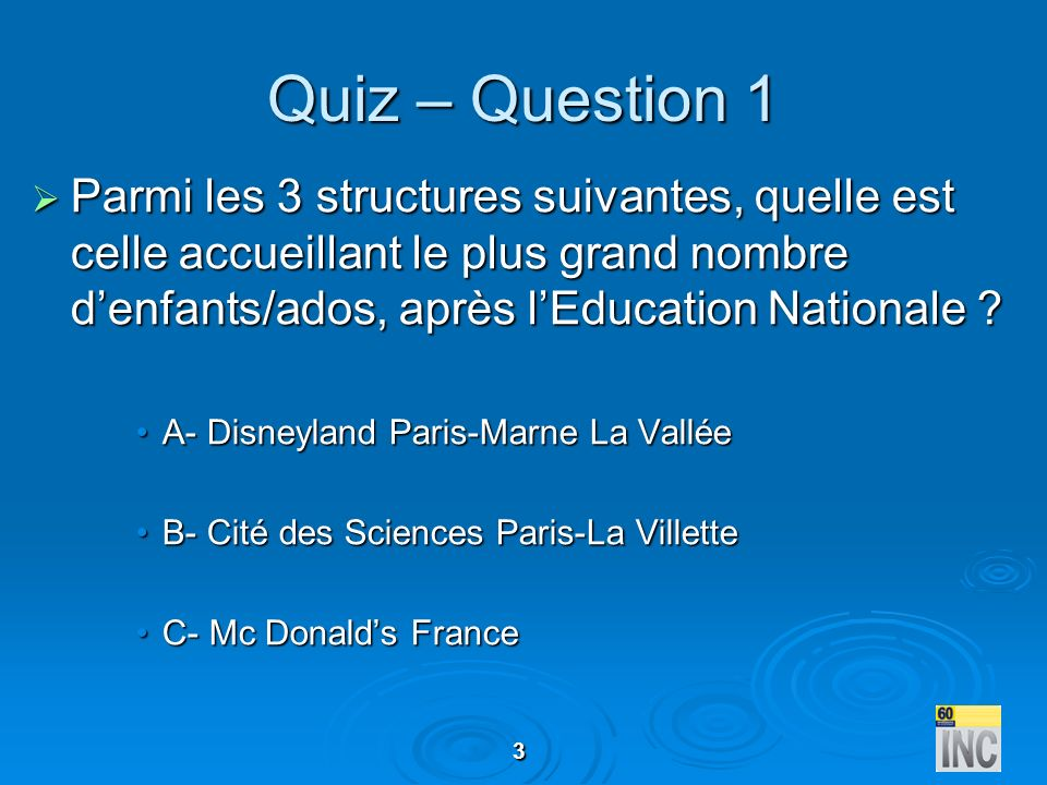 3 Quiz – Question 1 Parmi les 3 structures suivantes, quelle est celle accueillant le plus grand nombre denfants/ados, après lEducation Nationale ? Pa