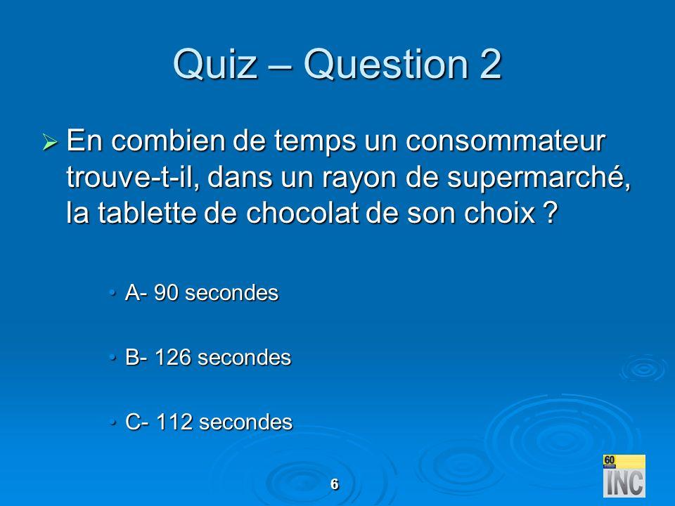 6 Quiz – Question 2 En combien de temps un consommateur trouve-t-il, dans un rayon de supermarché, la tablette de chocolat de son choix ? En combien d