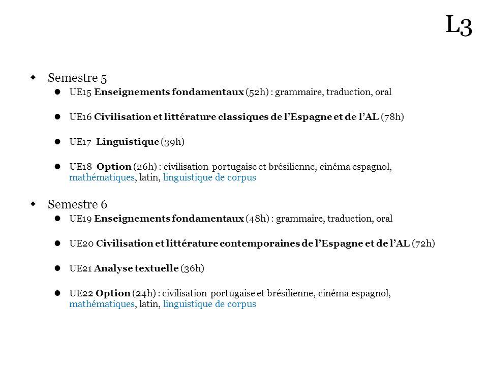 Semestre 5 UE15 Enseignements fondamentaux (52h) : grammaire, traduction, oral UE16 Civilisation et littérature classiques de lEspagne et de lAL (78h)