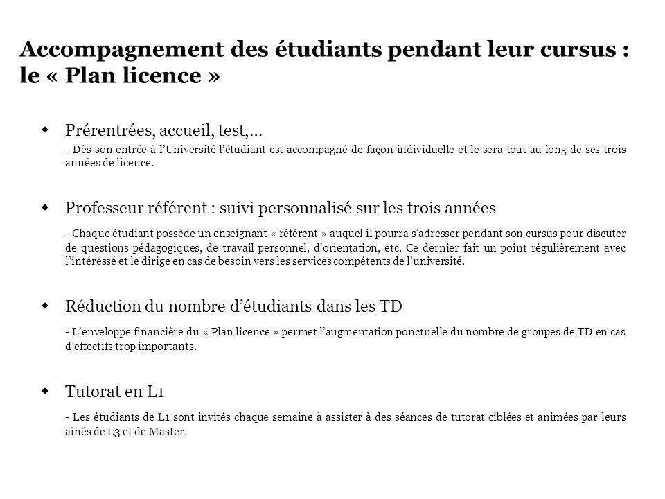 Accompagnement des étudiants pendant leur cursus : le « Plan licence » Prérentrées, accueil, test,… - Dès son entrée à lUniversité létudiant est accom