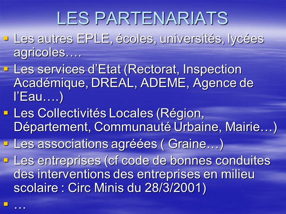 LES PARTENARIATS Les autres EPLE, écoles, universités, lycées agricoles….