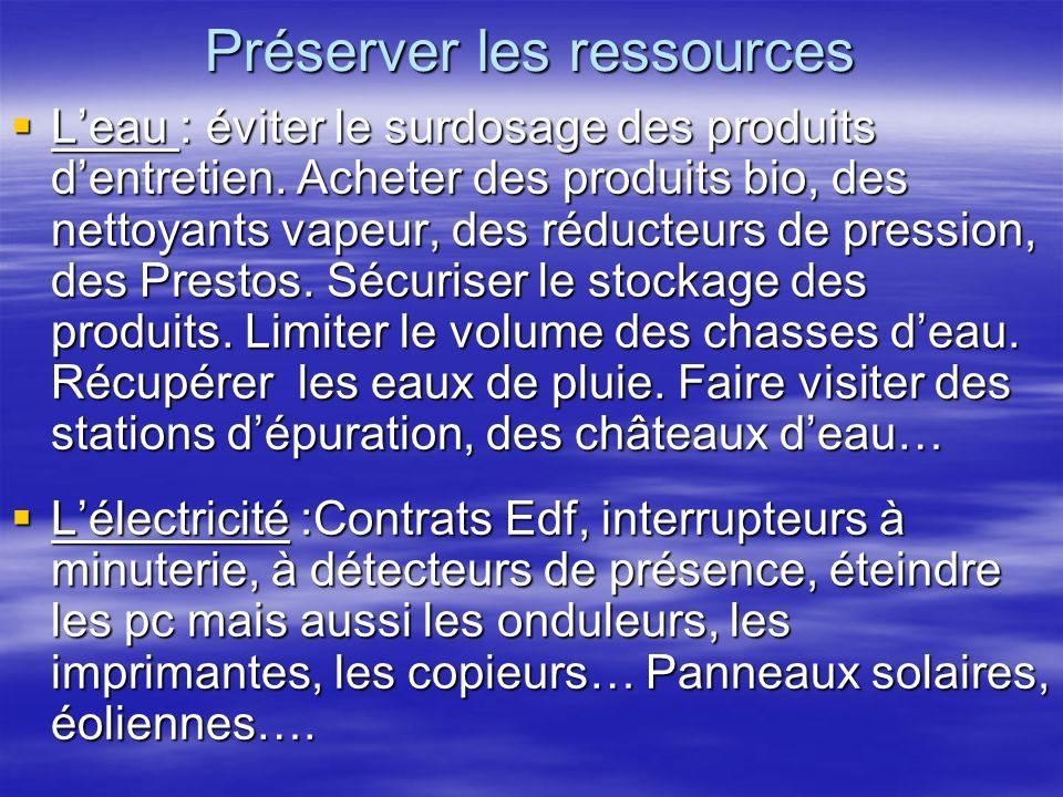 Préserver les ressources Leau : éviter le surdosage des produits dentretien.