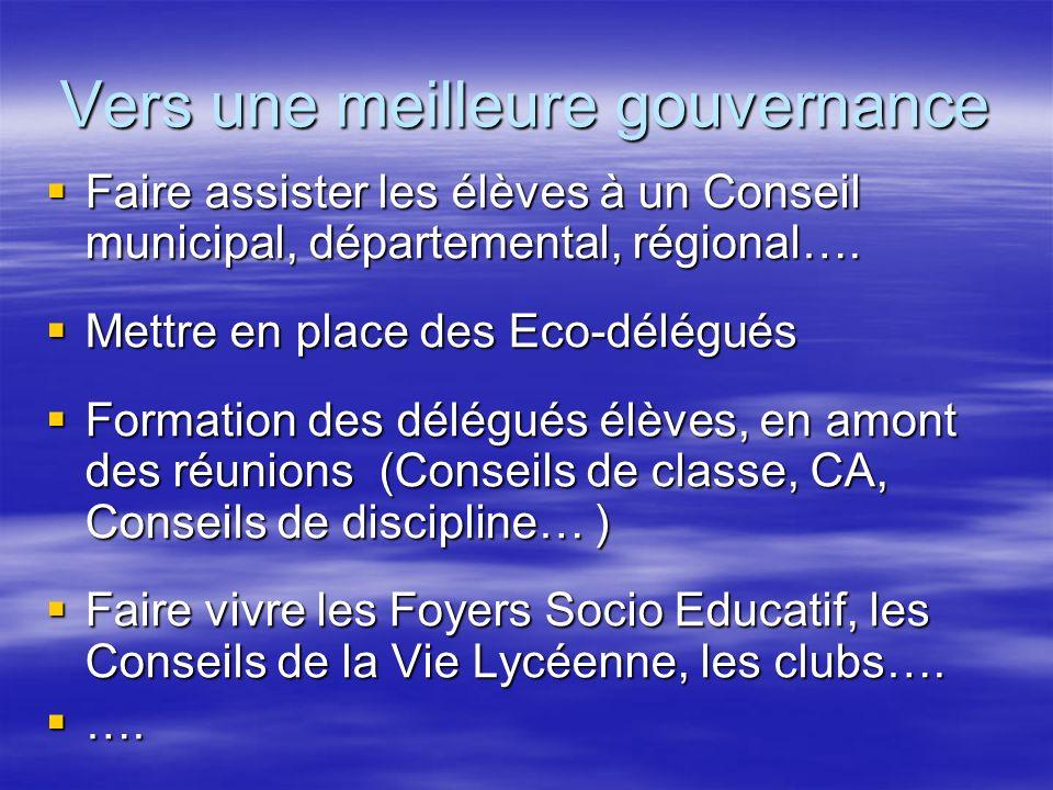 Vers une meilleure gouvernance Faire assister les élèves à un Conseil municipal, départemental, régional….