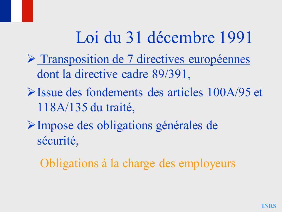 INRS Loi du 31 décembre 1991 Transposition de 7 directives européennes dont la directive cadre 89/391, Issue des fondements des articles 100A/95 et 11