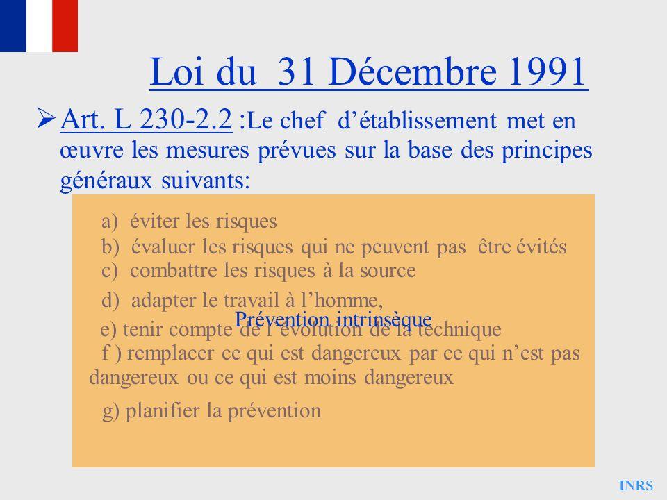 INRS Loi du 31 Décembre 1991 Art. L 230-2.2 : Le chef détablissement met en œuvre les mesures prévues sur la base des principes généraux suivants: a)