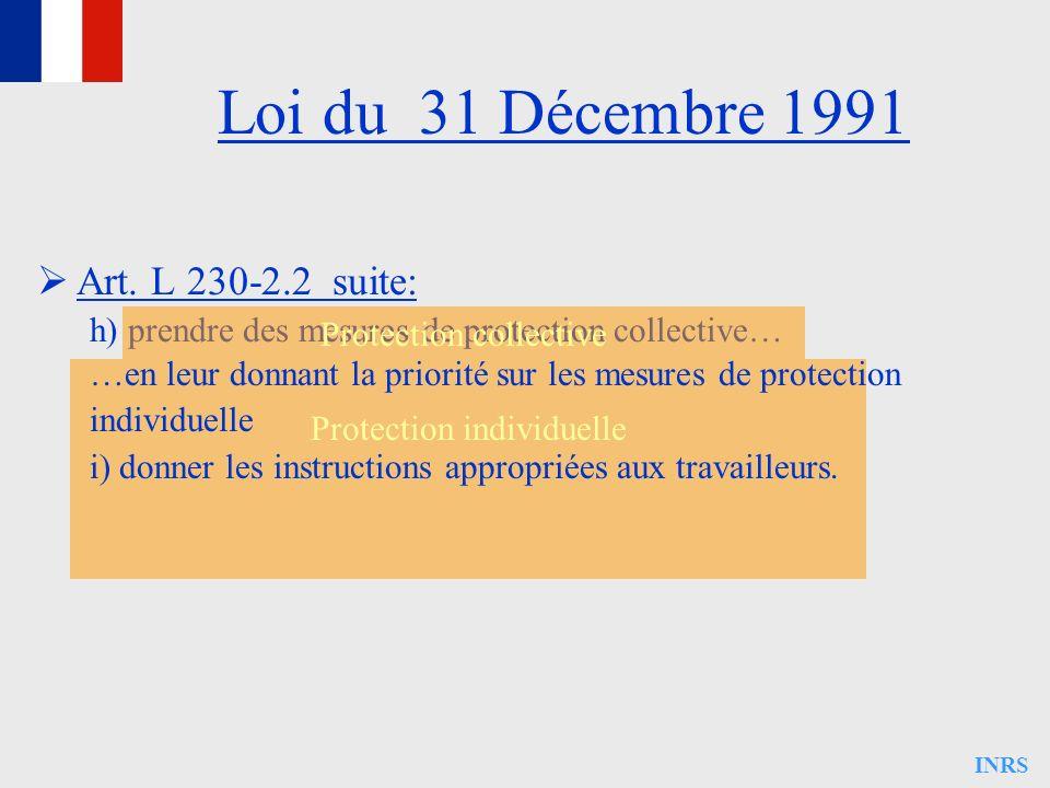 INRS Loi du 31 Décembre 1991 Art. L 230-2.2 suite: h) prendre des mesures de protection collective… Protection collective Protection individuelle …en