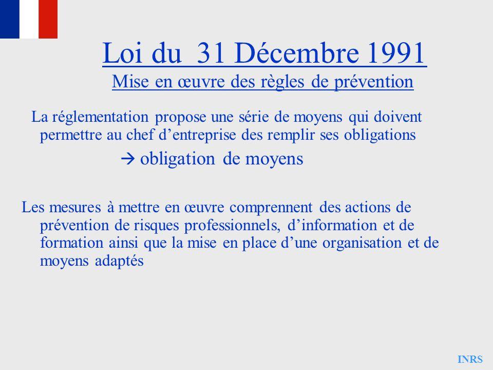 INRS Mise en œuvre des règles de prévention La réglementation propose une série de moyens qui doivent permettre au chef dentreprise des remplir ses ob