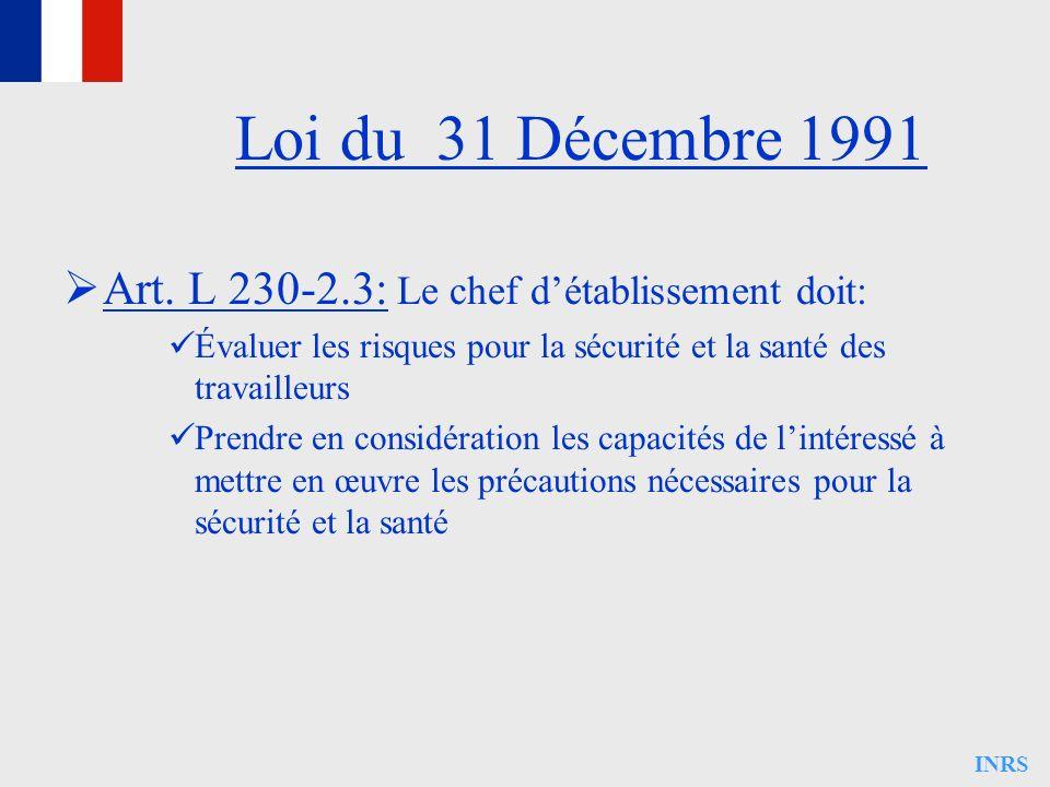 INRS Art. L 230-2.3: Le chef détablissement doit: Évaluer les risques pour la sécurité et la santé des travailleurs Prendre en considération les capac