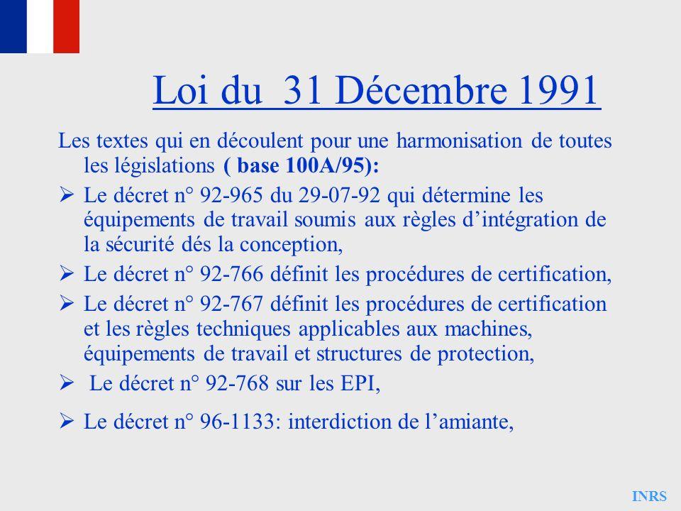 INRS Les textes qui en découlent pour une harmonisation de toutes les législations ( base 100A/95): Le décret n° 92-965 du 29-07-92 qui détermine les