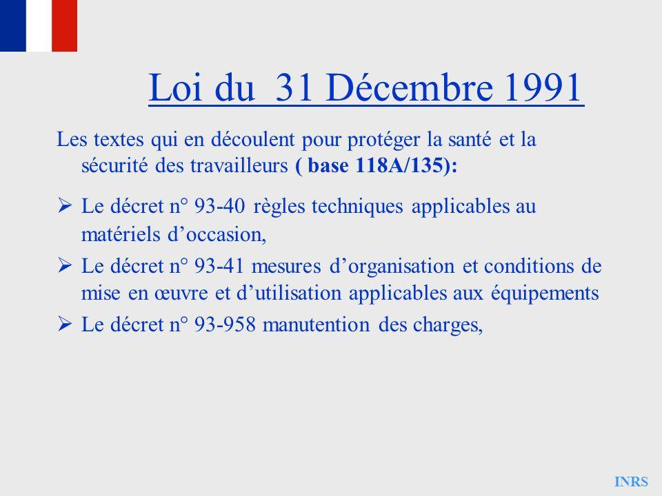 INRS Les textes qui en découlent pour protéger la santé et la sécurité des travailleurs ( base 118A/135): Le décret n° 93-40 règles techniques applica