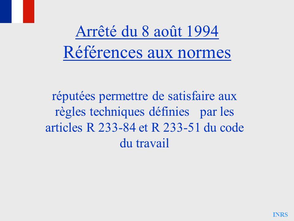 INRS Arrêté du 8 août 1994 Références aux normes réputées permettre de satisfaire aux règles techniques définies par les articles R 233-84 et R 233-51