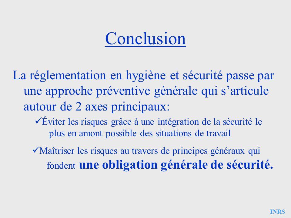 INRS Conclusion La réglementation en hygiène et sécurité passe par une approche préventive générale qui sarticule autour de 2 axes principaux: Éviter