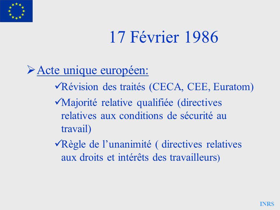 INRS 17 Février 1986 Acte unique européen: Révision des traités (CECA, CEE, Euratom) Majorité relative qualifiée (directives relatives aux conditions