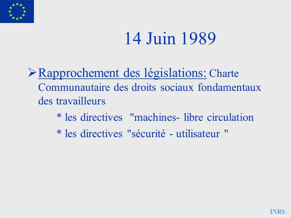INRS 14 Juin 1989 Rapprochement des législations: Charte Communautaire des droits sociaux fondamentaux des travailleurs * les directives