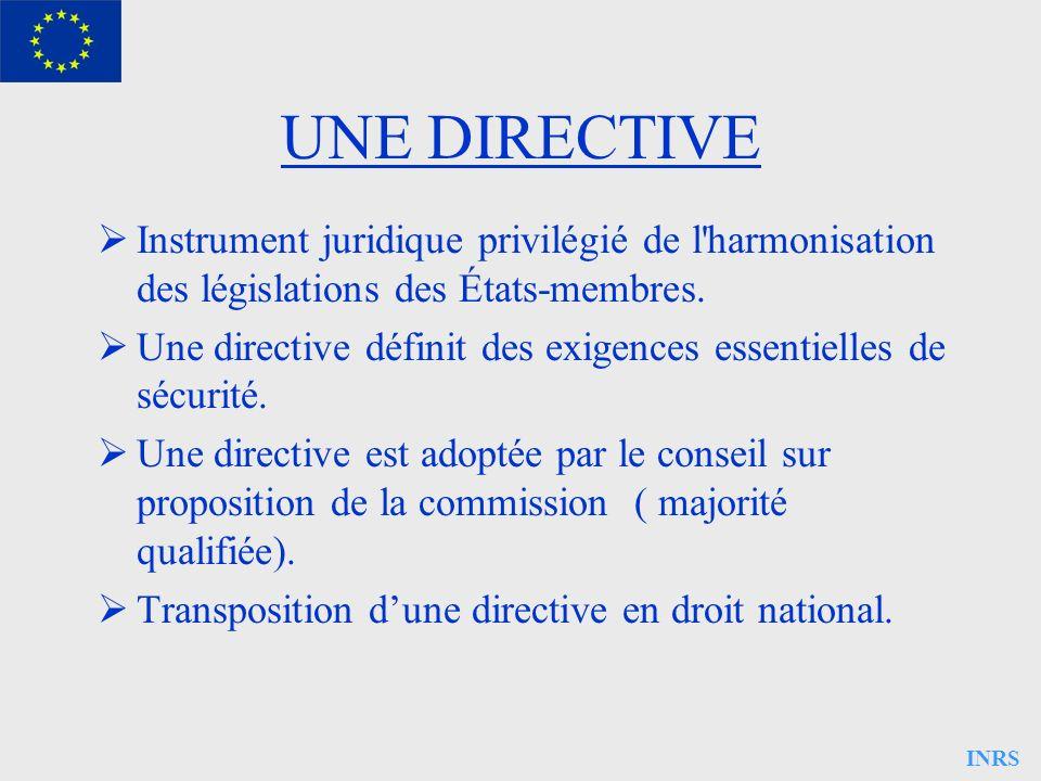 INRS UNE DIRECTIVE Instrument juridique privilégié de l'harmonisation des législations des États-membres. Une directive définit des exigences essentie
