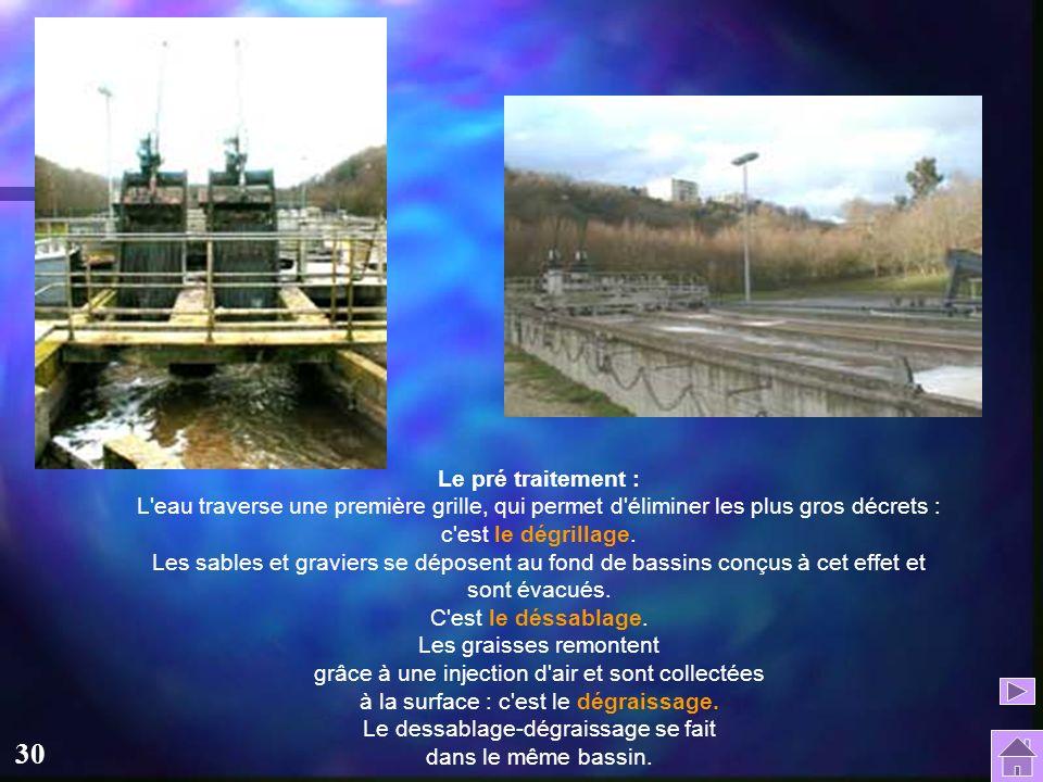 30 Le pré traitement : L eau traverse une première grille, qui permet d éliminer les plus gros décrets : c est le dégrillage.