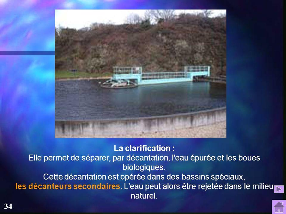 33 Le traitement biologique : Leur principe consiste à faire dégrader par des micro-organismes naturellement présents dans l'eau, les matières organiq