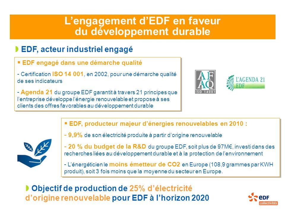 Lengagement dEDF en faveur du développement durable EDF, acteur industriel engagé EDF engagé dans une démarche qualité - Certification ISO 14 001, en