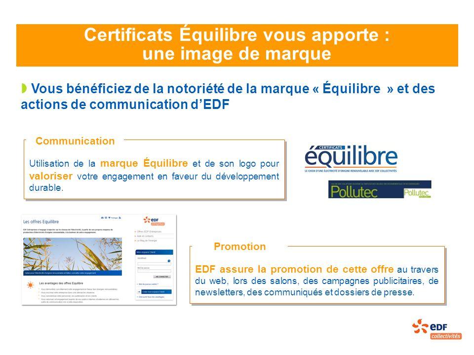 Certificats Équilibre vous apporte : une image de marque Vous bénéficiez de la notoriété de la marque « Équilibre » et des actions de communication dEDF Utilisation de la marque Équilibre et de son logo pour valoriser votre engagement en faveur du développement durable.