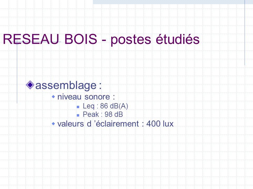 RESEAU BOIS - postes étudiés assemblage : niveau sonore : Leq : 86 dB(A) Peak : 98 dB valeurs d éclairement : 400 lux