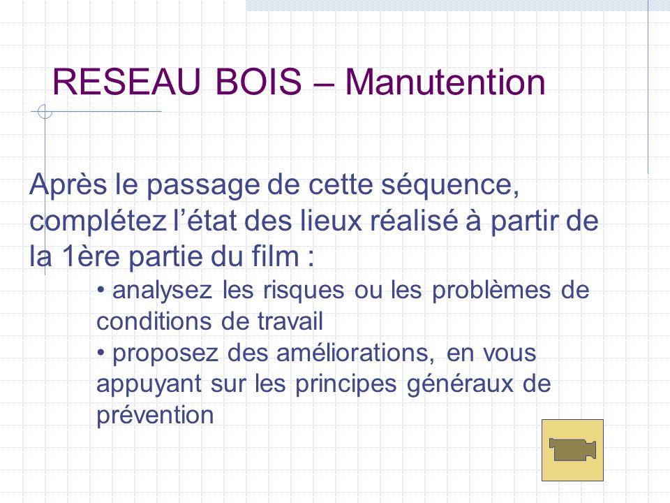 RESEAU BOIS – Manutention Après le passage de cette séquence, complétez létat des lieux réalisé à partir de la 1ère partie du film : analysez les risq