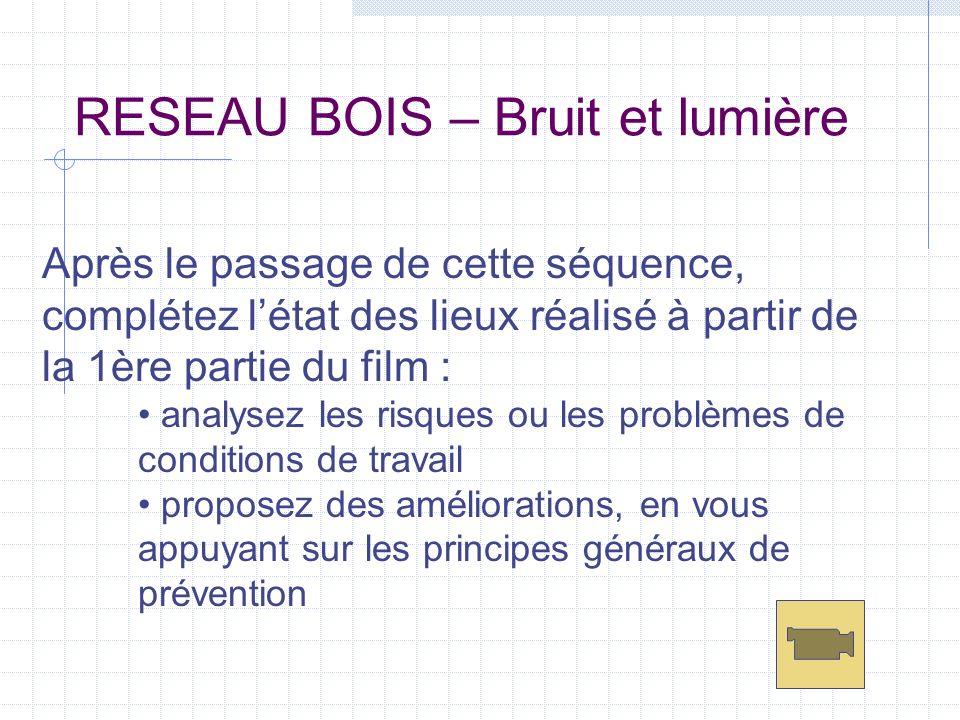 RESEAU BOIS - postes étudiés scie circulaire : recoupe de bois avivé sur palette niveau sonore : Leq : 93 dB(A) Peak : 108 dB valeurs d éclairement : 120 lux