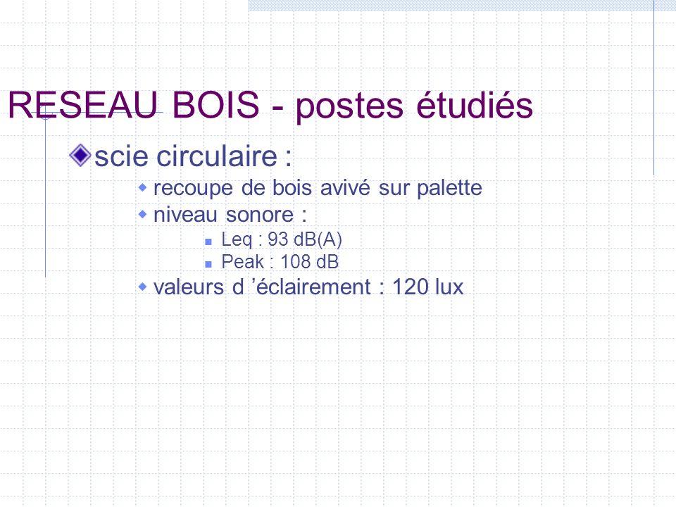 RESEAU BOIS - postes étudiés délignage : recoupe bois avivé et plateaux (bois en grumes) accès délicat avec grandes longueurs consommation huile : 300 l/an niveau sonore : Leq : 86 dB(A) Peak : 105 dB valeurs d éclairement : 150 à 200 lux