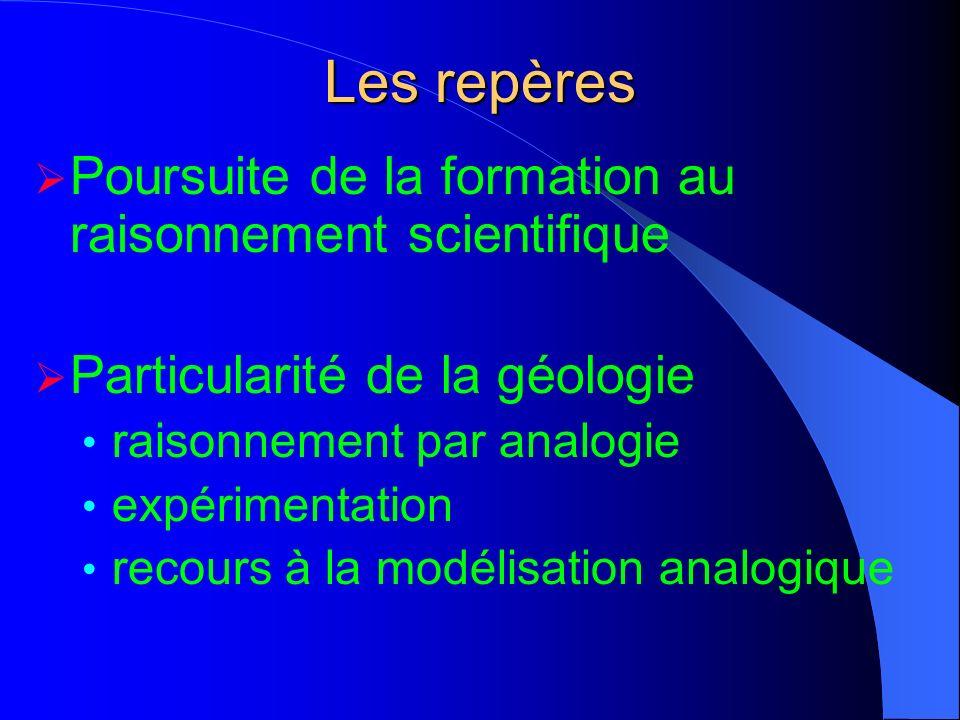 Poursuite de la formation au raisonnement scientifique Particularité de la géologie raisonnement par analogie expérimentation recours à la modélisatio