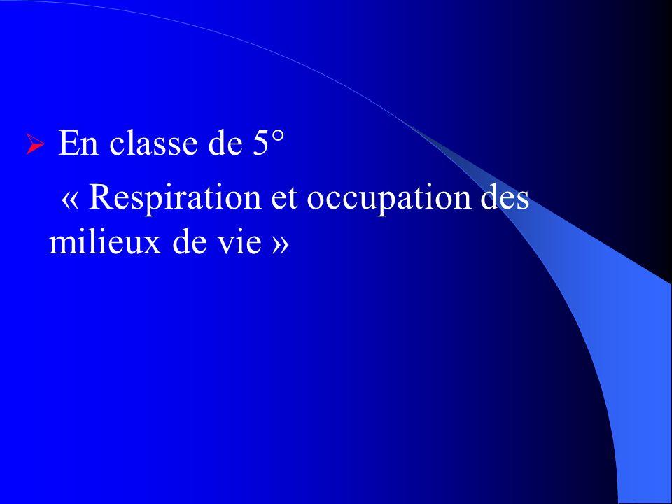 En classe de 5° « Respiration et occupation des milieux de vie »